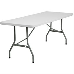 Flash Furniture Granite White Plastic Folding Table in White