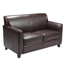 Flash Furniture Hercules Diplomat Leather Love Seat in Brown