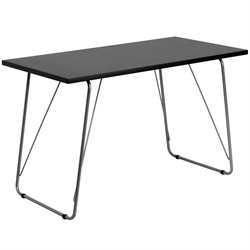 Flash Furniture Computer Desk with Silver Frame in Black