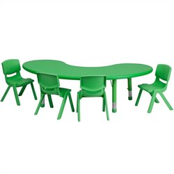 Flash Furniture 5 Piece Half Moon Activity Table Set in Green