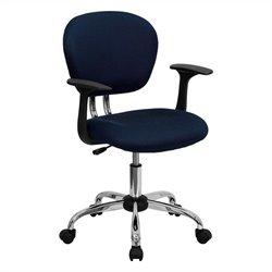 Flash Furniture Mid-Back Mesh Task Office Chair with Arms in Navy
