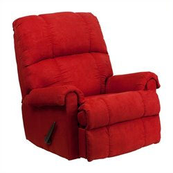 Flash Furniture Flatsuede Rock Microfiber Rocker Recliner in Red