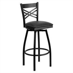Flash Furniture Hercules X Back Swivel Metal Bar Stool in Black