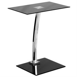 Flash Furniture Computer Desk with Black Tempered Glass Top in Black
