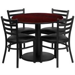 Flash Furniture 5 Piece Round Laminate Table Set Mahogany and Black