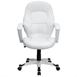 Flash Furniture Mid-Back Leather Executive Office Chair in White