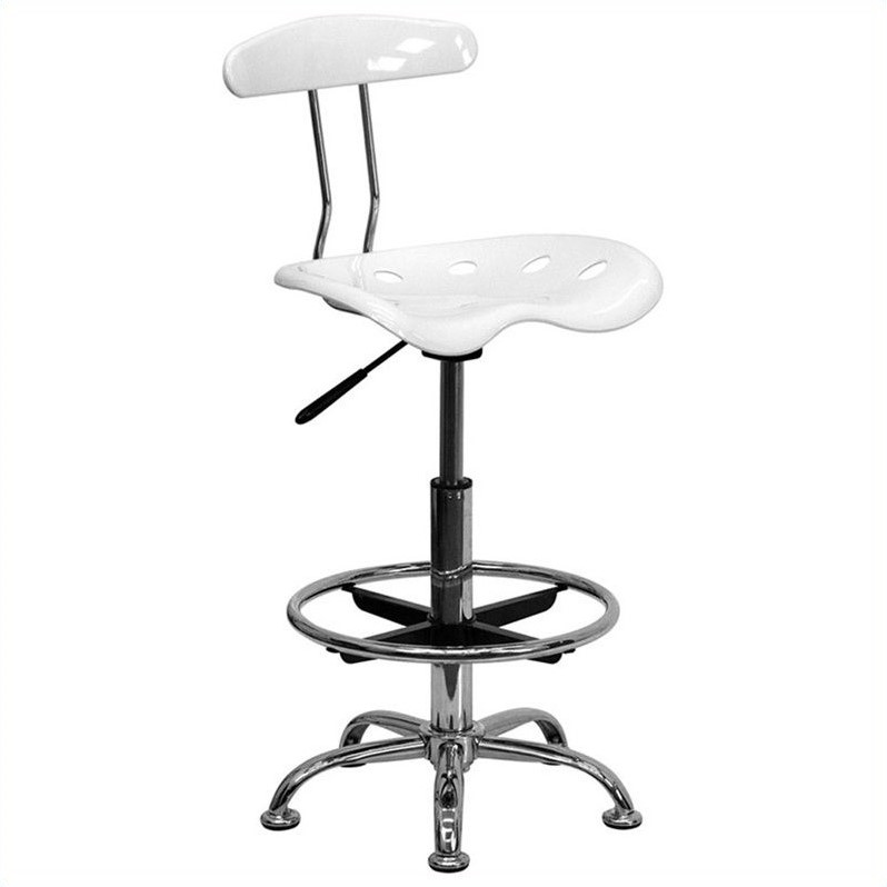 Flash Furniture Vibrant Drafting Chair Seat in White and Chrome 461312