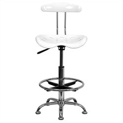 Flash Furniture Vibrant Drafting Chair Seat in White and Chrome