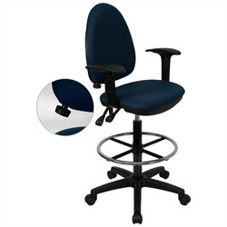 Flash Furniture Mid-Back Drafting Chair with Arms in Navy Blue