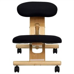 Flash Furniture Mobile Wooden Ergonomic Kneeling Office Chair in Black Fabric
