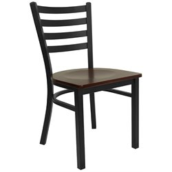 Flash Furniture Hercules Ladder Back Metal Dining Chair in Mahogany