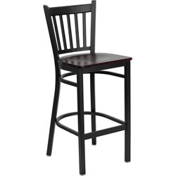Flash Furniture Hercules Series Black Back Metal Bar Stool in Mahogany