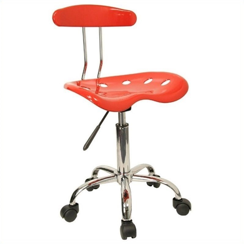 Flash Furniture Vibrant Computer Task Office Chair Seat in Red and Chrome 462175