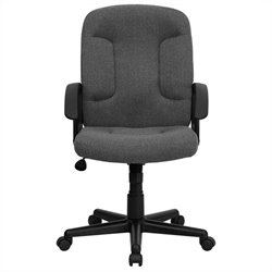 Flash Furniture Mid Back Office Chair with Nylon Arms in Gray