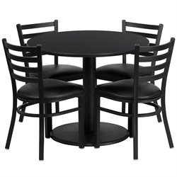 Flash Furniture 5 Piece Round Laminate Table Set in Black