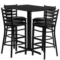 Flash Furniture 5 Piece Rectangular Laminate Table Set in Black