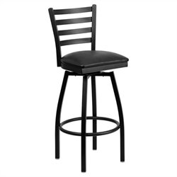 Flash Furniture Hercules Ladder Back Swivel Metal Bar Stool in Black