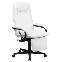 Flash Furniture High Back Leather Reclining Office Chair in White