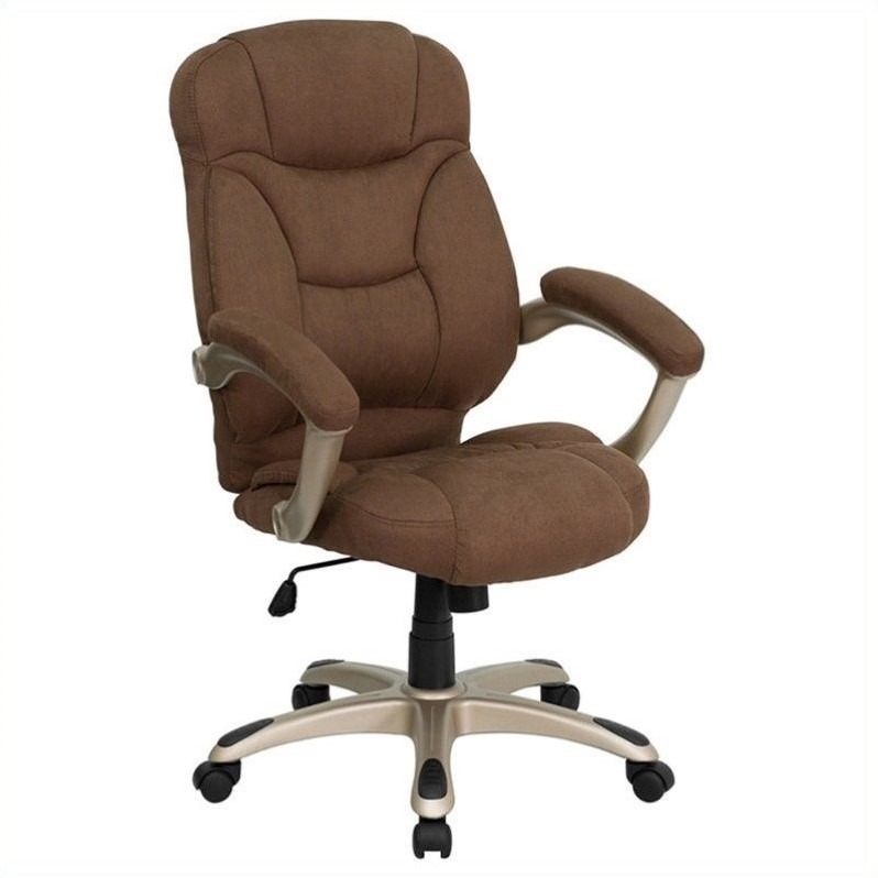 Flash Furniture High Back Brown Microfiber Upholstered Contemporary Office Chair Go-725-Bn-Gg GO-725-BN-GG