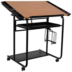 Flash Furniture Adjustable Drawing Table with Black Frame