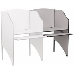Flash Furniture Add-on Study Carrel in Nebula Grey