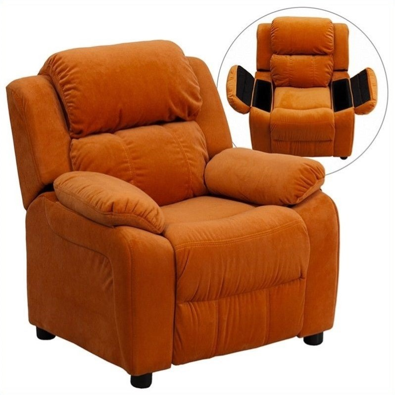 Flash Furniture Padded Kids Recliner in Orange