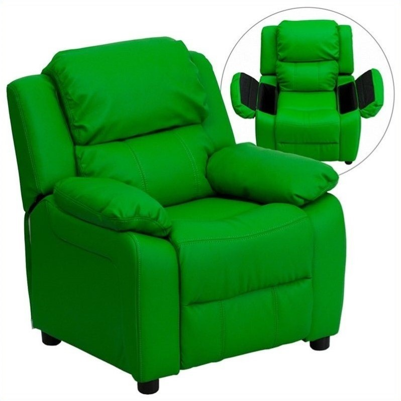 Deluxe Heavily Padded Contemporary Green Vinyl Kids Recliner with Storage Arms BT-7985-KID-GRN-GG by Flash Furniture