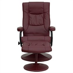 Flash Furniture Contemporary Recliner and Ottoman in Burgundy