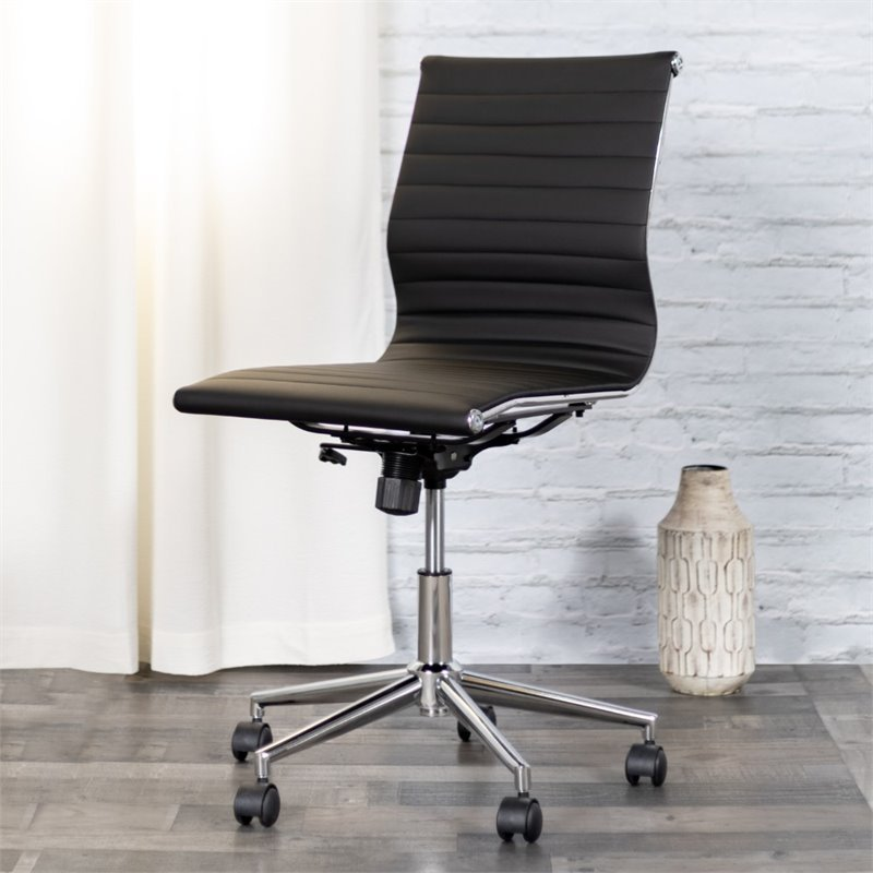 Flash Furniture Armless Upholstered Office Chair in Black BT-9836M-2-BK-GG