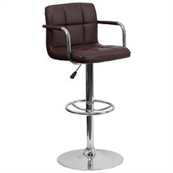 Flash Furniture Quilted Adjustable Bar Stool with Arms in Brown
