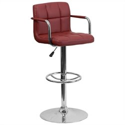 Flash Furniture Quilted Adjustable Bar Stool with Arms in Burgundy