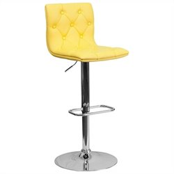 Flash Furniture Tufted Adjustable Bar Stool in Yellow