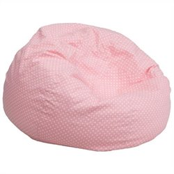 Flash Furniture Oversized Dotted Bean Bag Chair in Light Pink