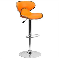 Flash Furniture Mid Back Cozy Adjustable Bar Stool in Orange