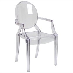 Flash Furniture Ghost Dining Chair with Arms in Transparent Crystal