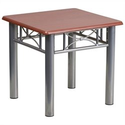 Flash Furniture Laminate End Table with Silver Steel Frame in Mahogany