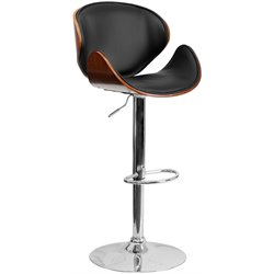 Flash Furniture Adjustable Bar Stool with Curved Seat in Walnut