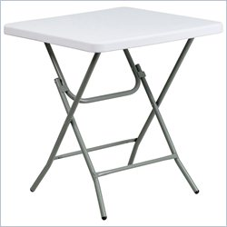 Flash Furniture Square Granite Folding Table in White
