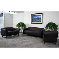 Flash Furniture Hercules 3 Piece Leather Sofa Set in Black and Cherry