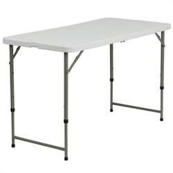 Flash Furniture Height Adjustable Plastic Folding Table in White
