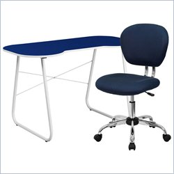 Flash Furniture Computer Desk and Swivel Chair in Navy