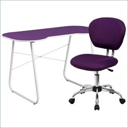 Flash Furniture Computer Desk and Swivel Chair in Purple