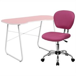 Flash Furniture Computer Desk and Swivel Chair in Pink