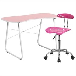 Flash Furniture Computer Desk and Tractor Chair in Pink
