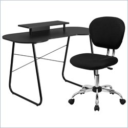 Flash Furniture Computer Desk with Monitor Stand and Swivel Chair in Black