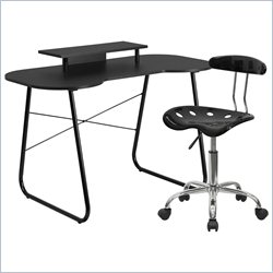 Flash Furniture Computer Desk with Monitor Stand and Tractor Chair in Black