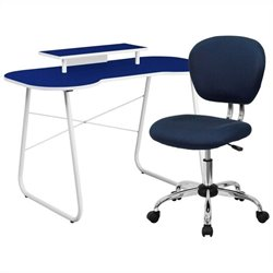 Flash Furniture Computer Desk with Monitor Stand and Swivel Chair in Navy