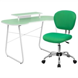 Flash Furniture Computer Desk with Monitor Stand and Swivel Chair in Green