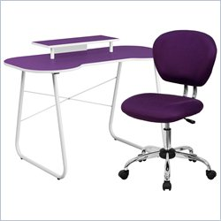Flash Furniture Computer Desk with Monitor Stand and Swivel Chair in Purple