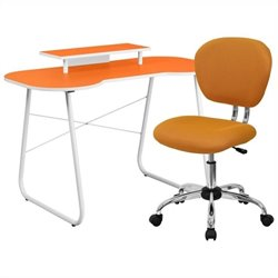 Flash Furniture Computer Desk with Monitor Stand and Swivel Chair in Orange